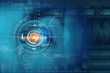 identification: Close up of male digital eye with security scanning concept Stock Photo