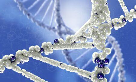 biochemistry: Biochemistry science concept with molecules on blue background