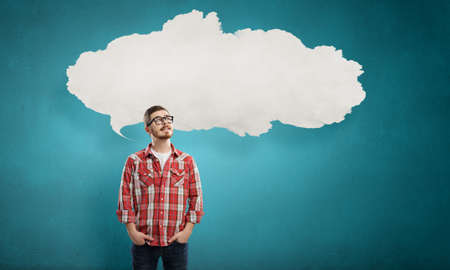 thought cloud: Pensive young man with thought cloud over his head