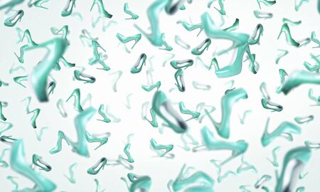 heeled: Background image with rain of heeled falling shoes
