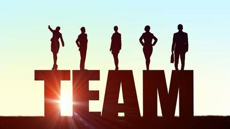 Siluetas de personas de negocios que presenta el trabajo en equipo y lograr el éxito concepto