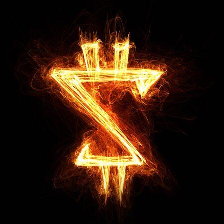 burning money: Dollar currency glowing symbol on dark background