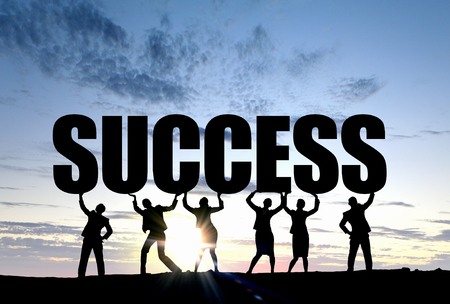achieving: Silhouettes of business people presenting teamwork and success achieving concept