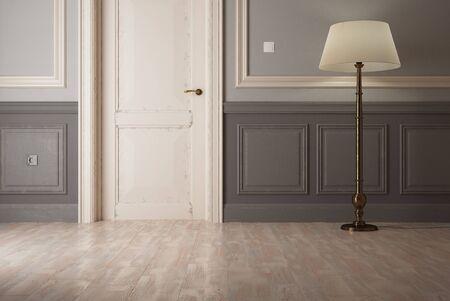 floor lamp: Elegant interior design with lamp standing on floor