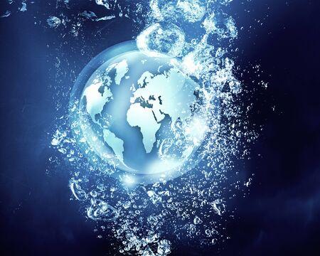 clear: Digital planet sink in clear blue water