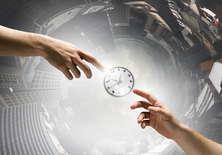 hand press: Businessman hand press clock time button icon Stock Photo