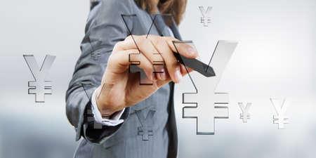 hand press: Businesswoman hand press with stylus yen icon on screen