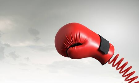 suddenness: Boxing glove on spring as suddenness concept