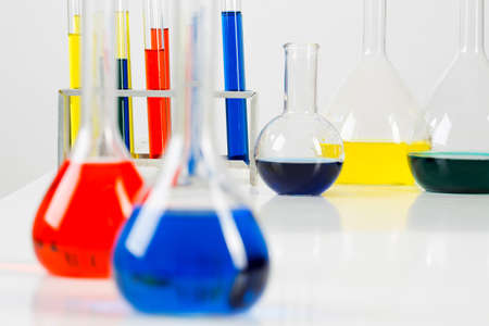 liquids: Glass tubes with color liquids in science laboratory