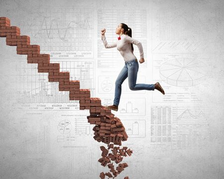 rise fall: Young woman walking up collapsing staircase representing success concept