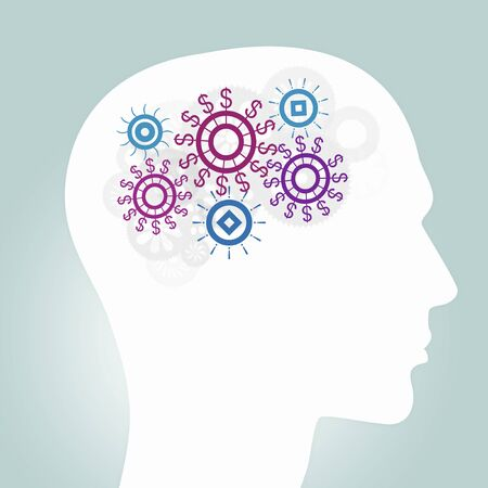 thinking machines: Human head with gears as symbol of thinking process Stock Photo