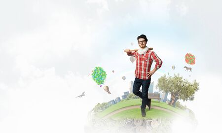 green eco: Young man with baseball bat and eco green concept