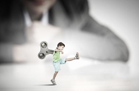 school aged: School aged cute active boy with key on back