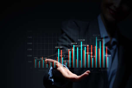 average guy: Close view of businesswoman presenting in palm infographs