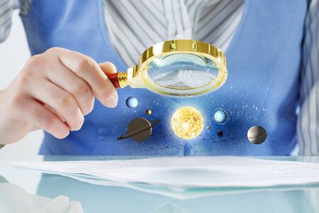 optical people person planet: Close view of businessperson exploring space planets with magnifying glass