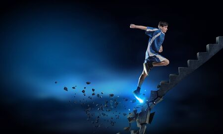 collapsing: Sports active man running on stone collapsing ladder