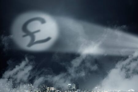 pound sign: Money conceptual image with pound sign in spotlight