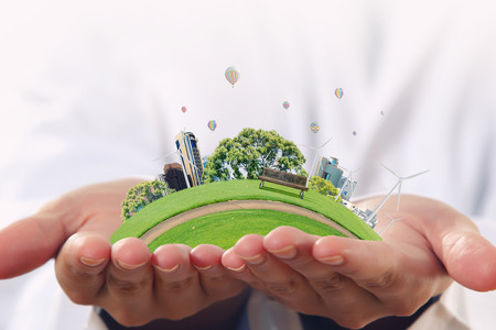rural development: Male hands holding green life concept in palms Stock Photo
