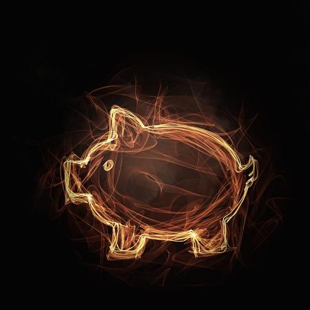 burning money: Glowing fire piggy bank icon on dark background Stock Photo