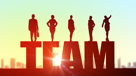 team leadership: Silhouettes of business people presenting teamwork and success achieving concept