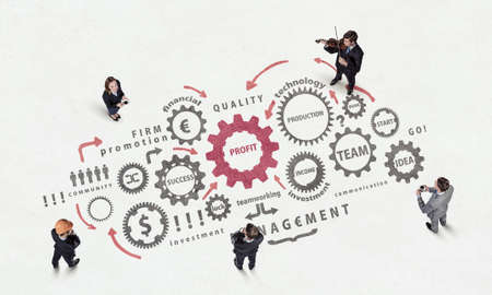 summits: Top view of business people and teamwork concept on floor Stock Photo