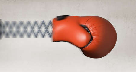 thump: Boxing glove on spring as suddenness concept