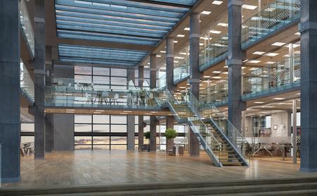 디자인 샘플로 현대 빈 사무실 인테리어 스톡 콘텐츠