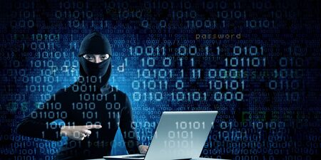 mugging: Hacker woman in dark clothes using laptop against digital background