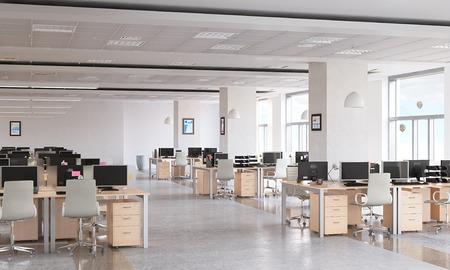 現代の空オフィス インテリア デザイン サンプルとして 写真素材 - 58054864