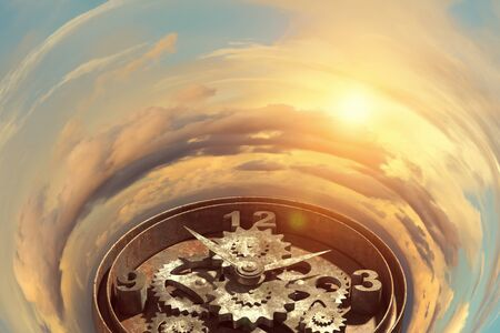 gearing: Time concept with old clock mechanism against sky background Stock Photo