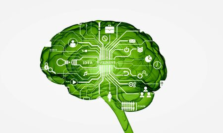 target thinking: Conceptual background image with human brain on white backdrop Stock Photo
