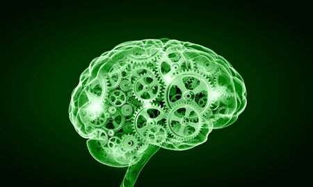 mechanisms: Illustration of human brain with cogwheel mechanisms