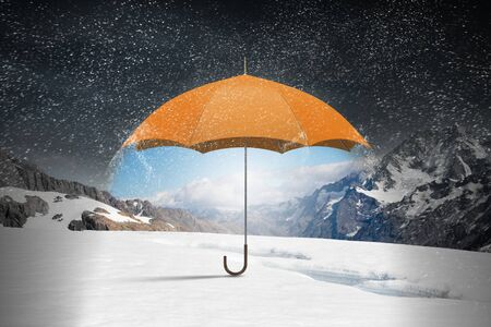 rain wet: Conceptual image with color umbrella in sky under rain