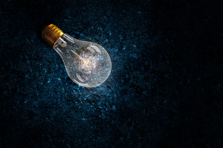 electronics industry: Glowing glass light bulb on soil background