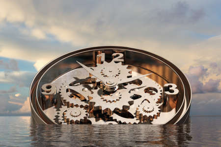 timepiece: Time concept with clock mechanism drowning in water