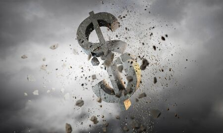 banking problems: Conceptual image with stone broken dollar sign
