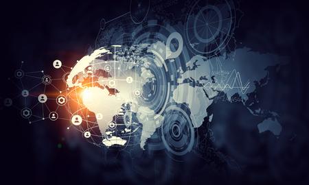 background image numérique présentant concept global de connexion