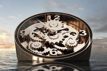 Time concept with clock mechanism drowning in water