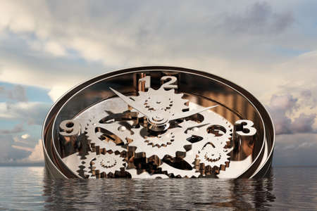gearing: Time concept with clock mechanism drowning in water