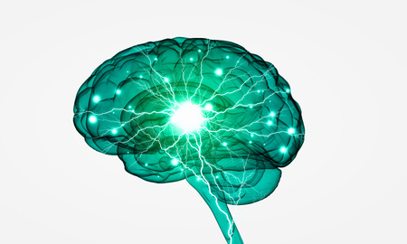 sihouette: Conceptual background image with human brain on white backdrop Stock Photo