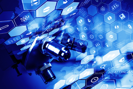 Medische of chemische digitale wetenschappelijke achtergrond met microscoop
