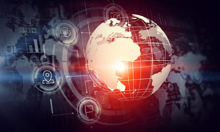 グローバル接続の概念を提示デジタル背景画像