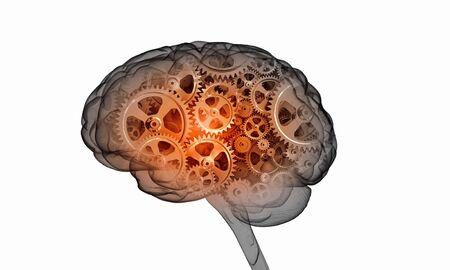 thinking machines: Illustration of human brain with cogwheel mechanisms on white background