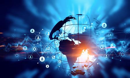 글로벌 연결 개념을 제시 디지털 배경 이미지