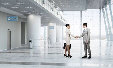 deal in: Professional business people shaking hands as symbol of deal in office