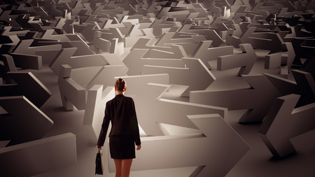 way out: Young elegant businesswoman among arrows showing directions to way out