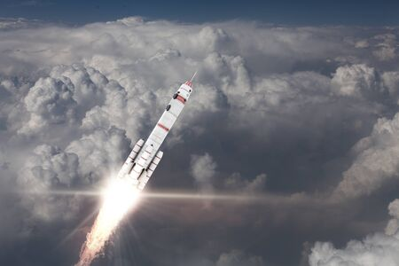 missile: Military missile flying high in blue sky