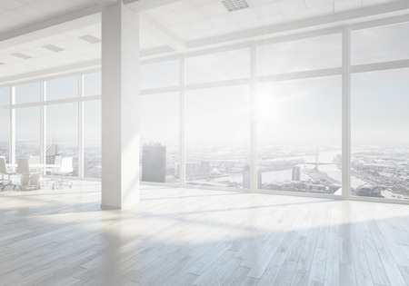 日の光で白のオフィスの 3 D レンダリング インテリア。ミクスト メディア
