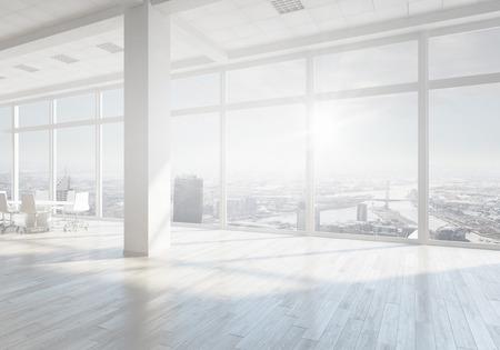 흰색 사무실 3D는 일 빛에서 렌더링 인테리어. 혼합 매체