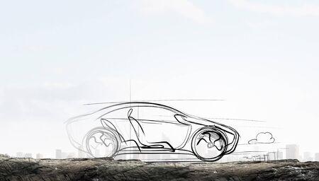 disegnata a mano car design su sfondo bianco